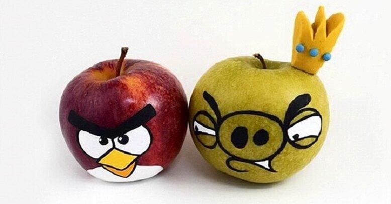 Поделка энгри бёрдс из яблок