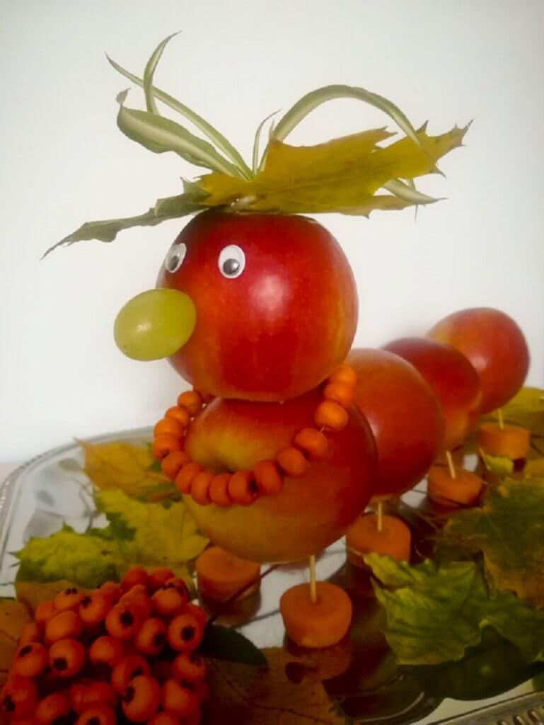 Поделки из овощей и фруктов гусеница из яблок