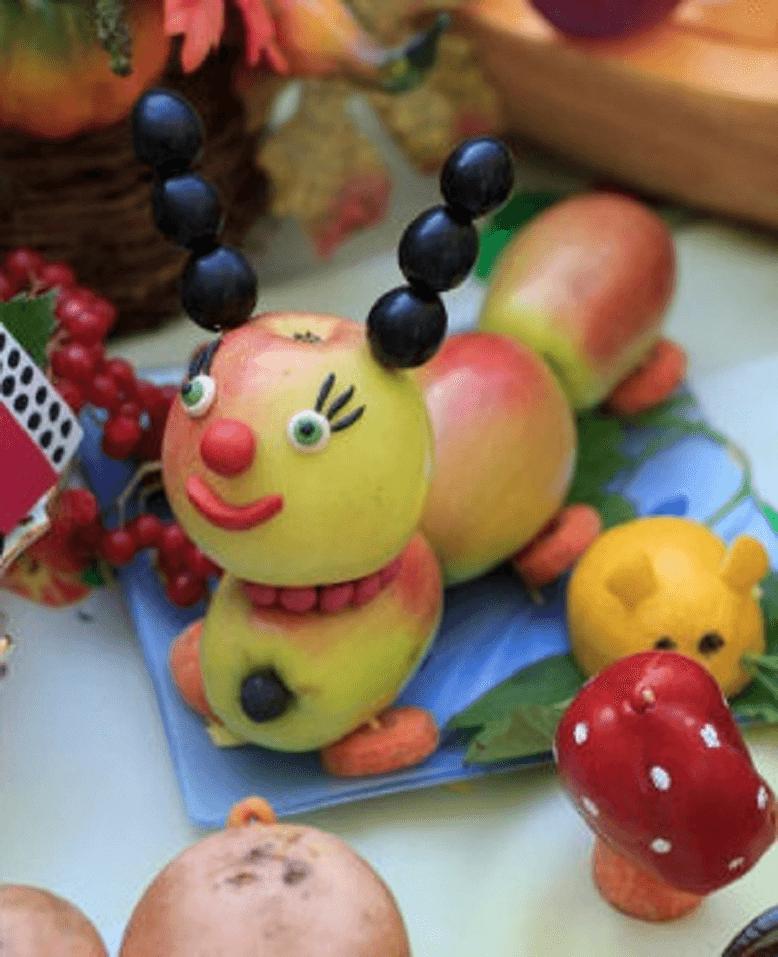 Поделки из овощей и фруктов гусеница из яблок 2