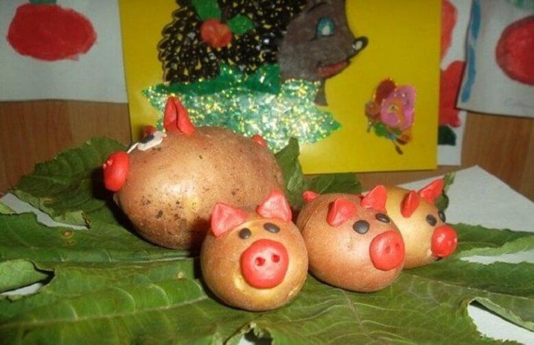 Поделка свинки из картошки