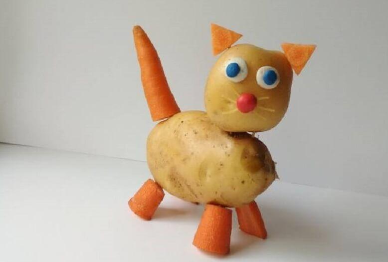 Поделка кот из картошки