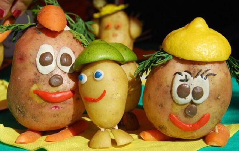 Поделки из овощей и фруктов Картофельная семейка