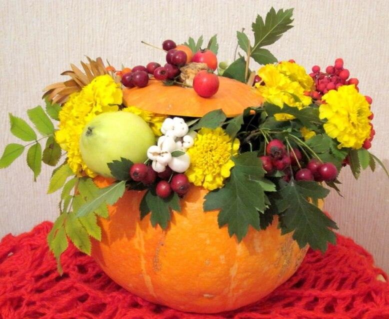 Поделки из овощей и фруктов поделка ваза из тыквы 3