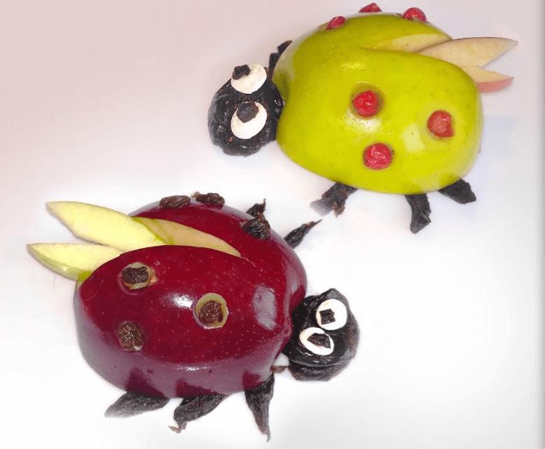 Поделка жуки из яблок