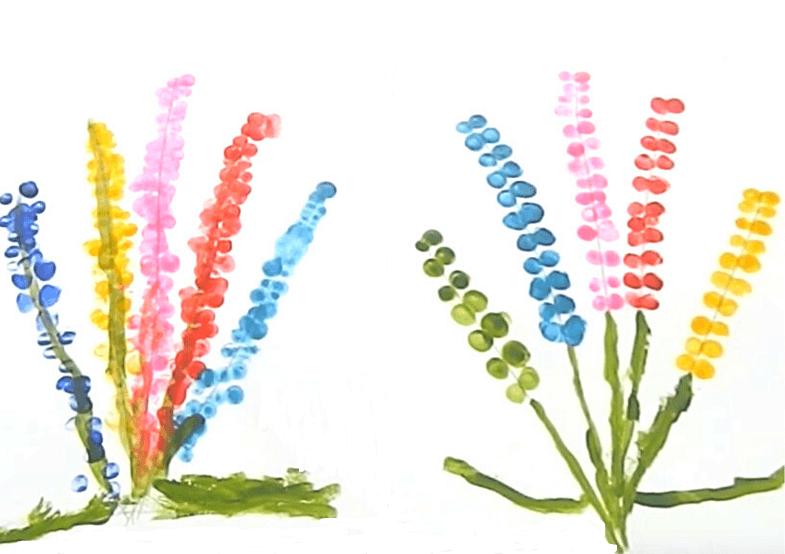 пальчиковое рисование гиацинт 2