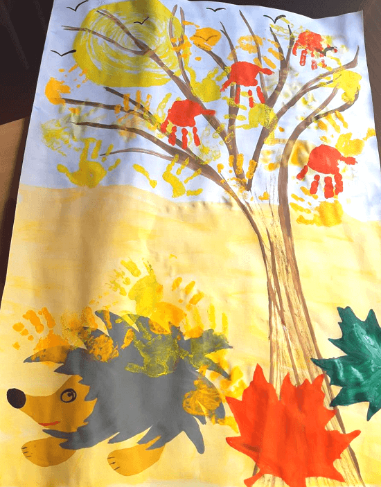 рисование пальчиками и ладошкой дерево