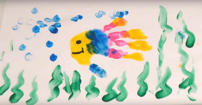 рисование пальчиками море