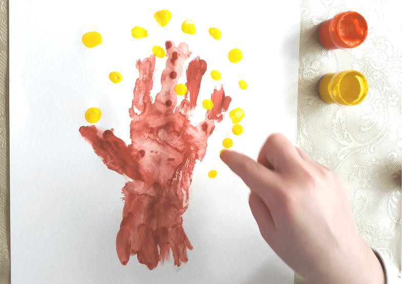рисование пальчиками осеннее дерево