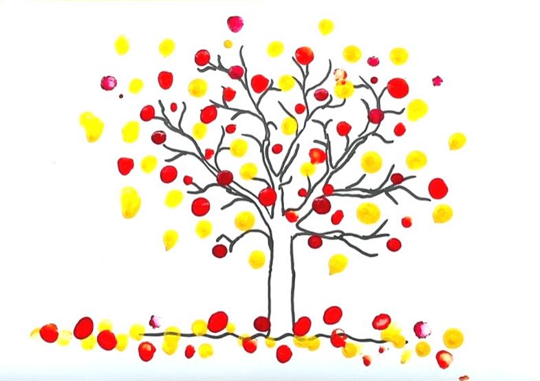 рисование пальчиками с шаблоном осень