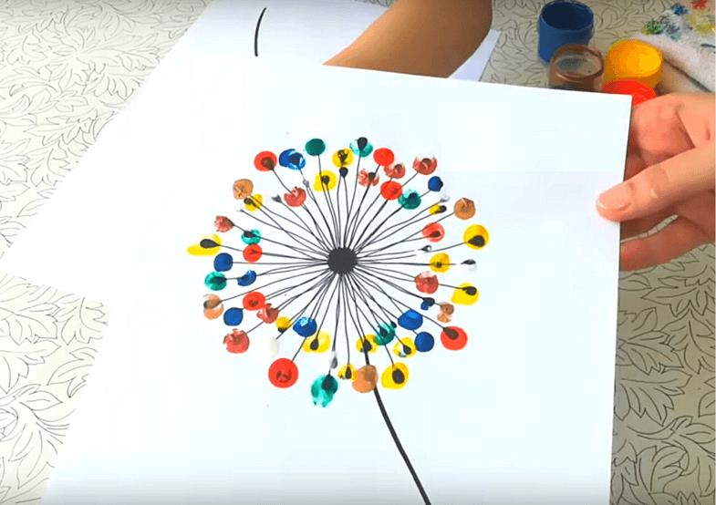 рисуем красками с шаблоном одуванчик