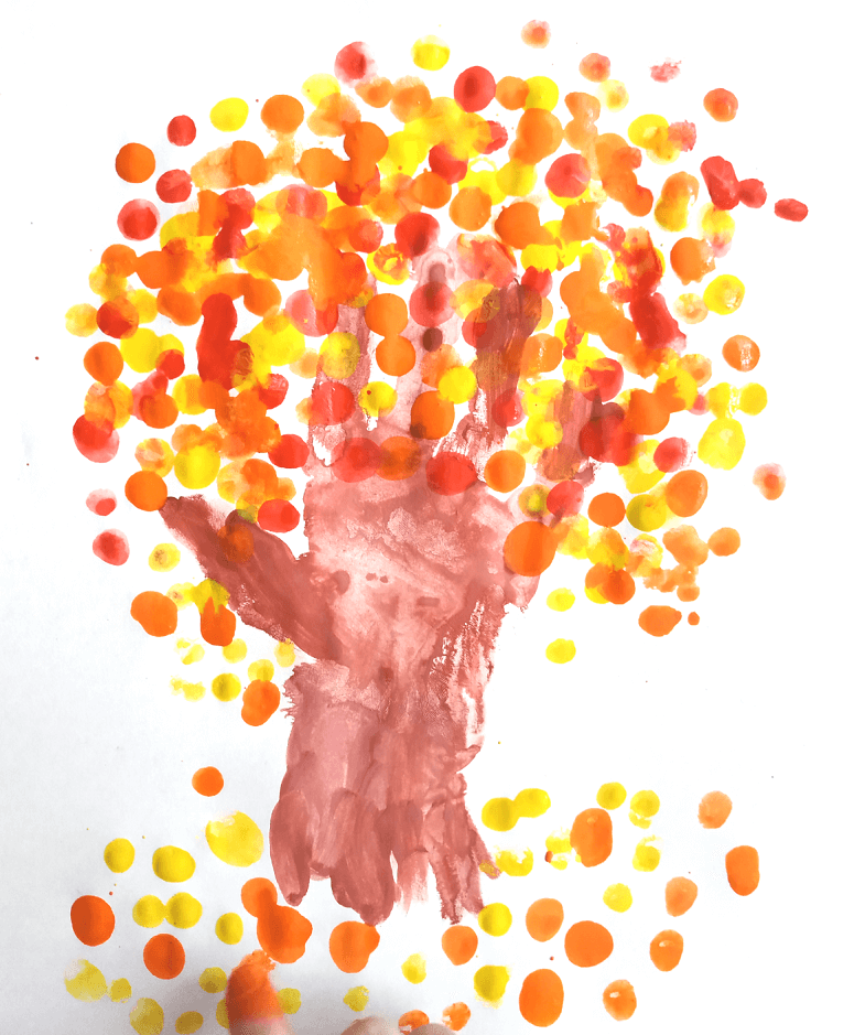 рисуем пальчиками дерево 2