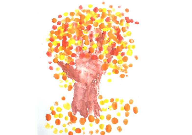 рисуем пальчиками дерево 3