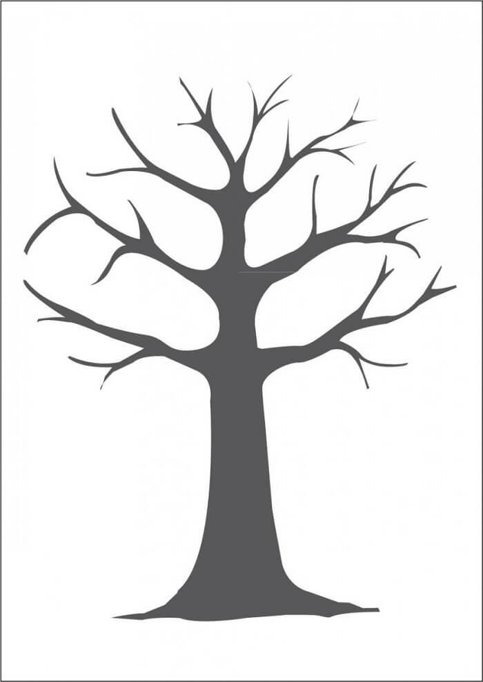 Шаблон дерево пальчиками