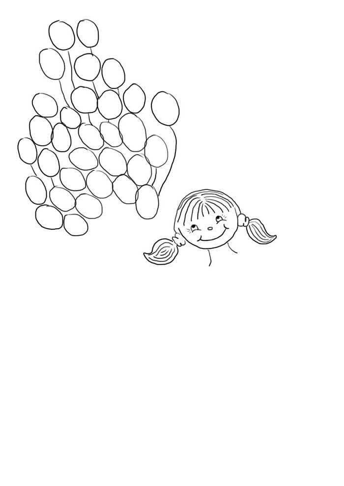 Шаблон девочка с шарамипальчиками