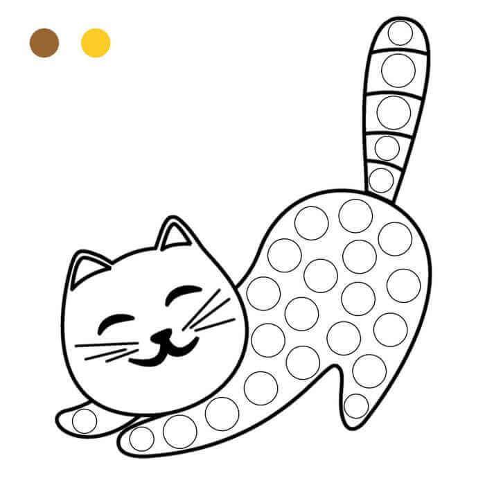 Шаблон кот пальчиками