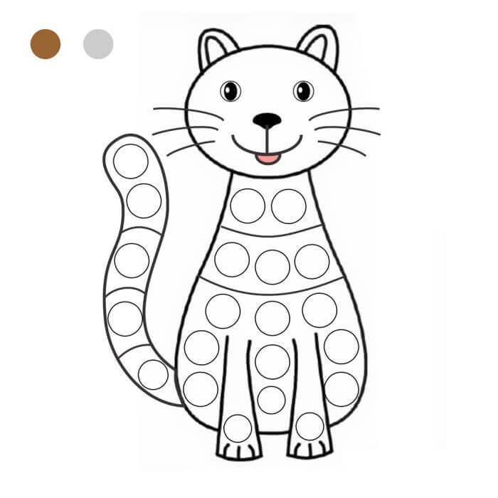 Шаблон котик пальчиками