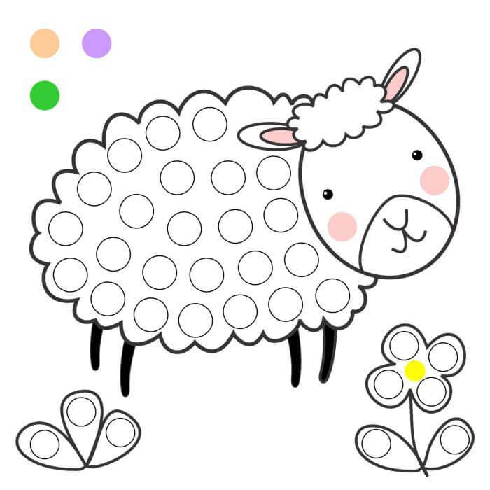 Шаблон овечка пальчиками