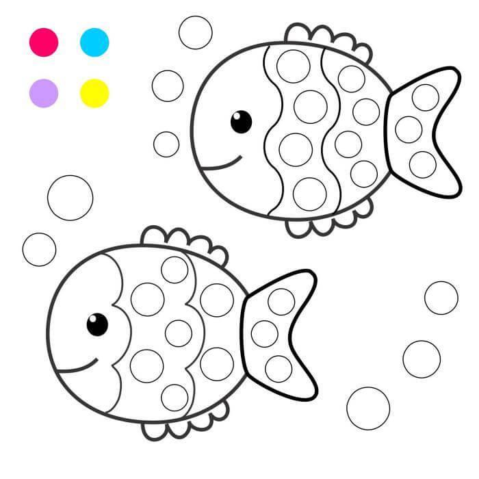 Шаблон рыбки пальчиками