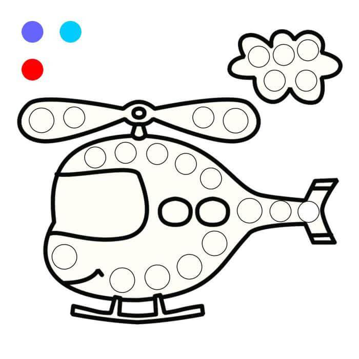 Шаблон вертолет пальчиками