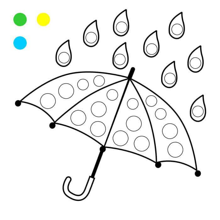 Шаблон зонтик пальчиками