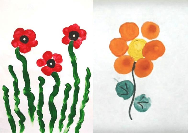 цветочки рисование пальчиками