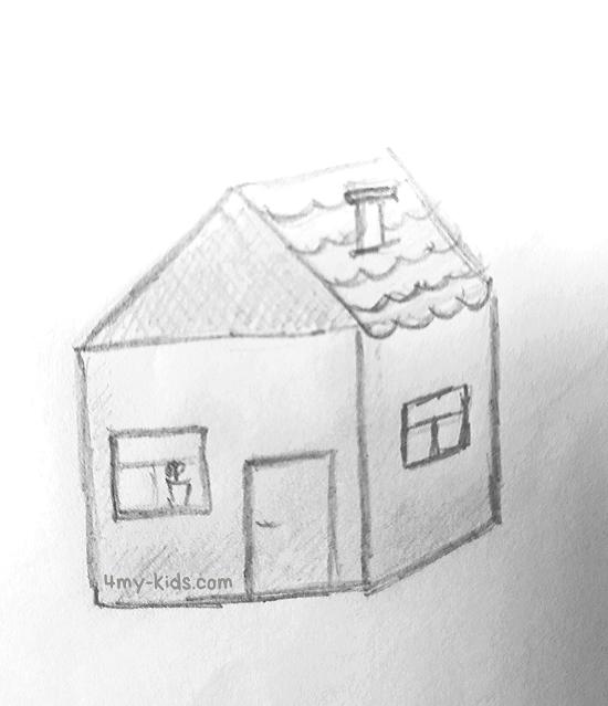 Домик карандашом