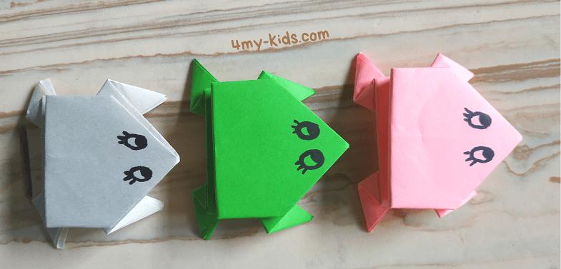 Как сделать прыгающую лягушку из бумаги Три лягушки